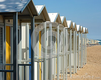 Bathing boxes on a beach