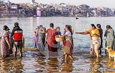 Ganga River Bath Bathing In The Holy Ri...