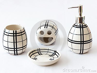 Bathroom accessories royalty free stock image image for Black and white striped bathroom accessories