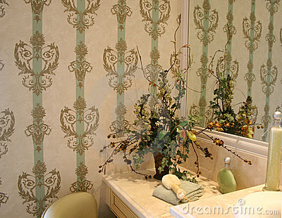Bathroom with attractive wallpaper
