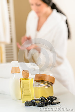 Free Bathroom Body Care Products And Towels Close-up Stock Photo - 26352990