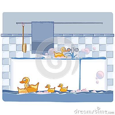 Bathroom with ducks