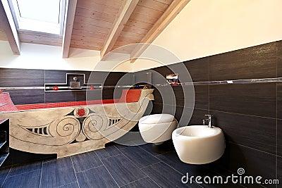 Bathroom with ethnic bath