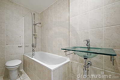 bathroom with floor to ceiling tiles royalty free stock 24404