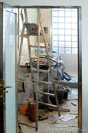 Bathroom improvement with messy clutter royalty free stock for Bathroom renovation tools