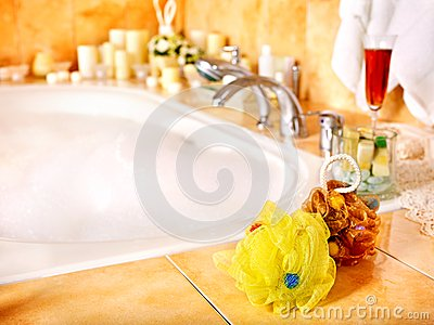 Bathroom interior with bubble bath.