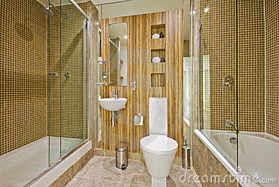 Bathroom with marble floor and mosaic tiles