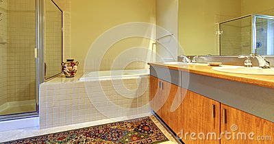 Bathroom with modern wood cabinets, tub and shower.