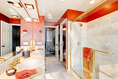 Bathroom with red walls and walk-in shower.
