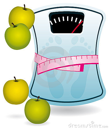 Bathroom scale and apples