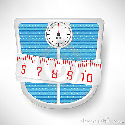 Bathroom scale and measuring tape
