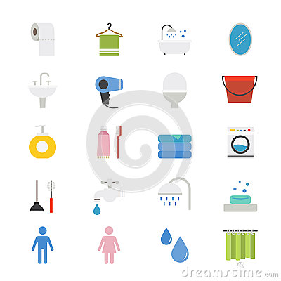 Bathroom and Toilet Flat Icons color Vector Illustration