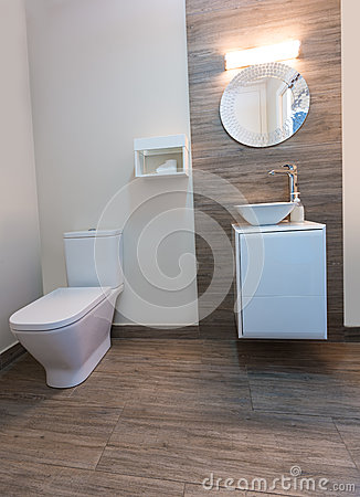 Bathroom toilet with round mirror modern indoor