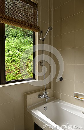 Bathroom with tropical jungle view