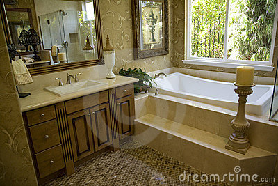 Bathroom with tub and decor