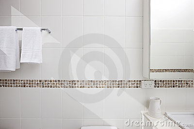 Bathroom White Tiles Background
