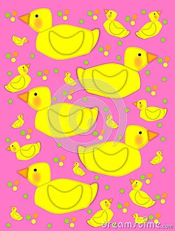 Bathtime duck on pink