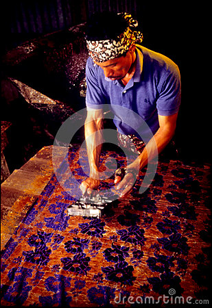 Batik Block Stamping Editorial Photography