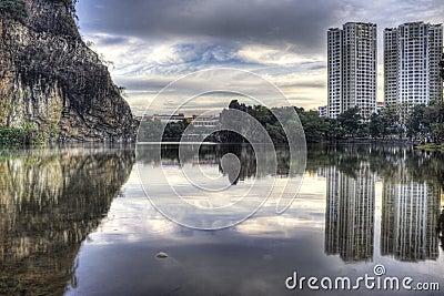 Batok bukit Guilin mały parkowy Singapore miasteczko