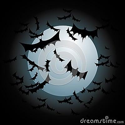 Bats Flying Full Moon