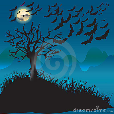 Bats flying in the moonlight