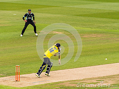 Batsman Playing in Cricket Match Editorial Stock Image