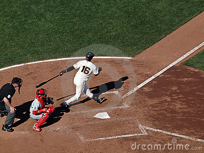 Batter Edgar Renteria swing and misses pitch Editorial Stock Image