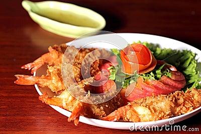 Batter-fried prawns