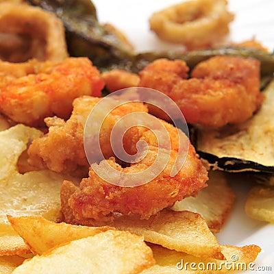 Battered and fried shrimps tapas