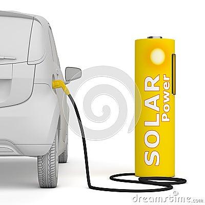 Batteribil e fuels den sol- stationen för petrolström