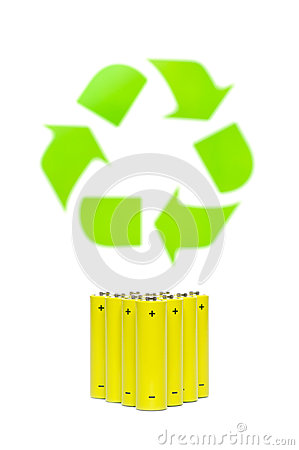 Batteries with recycling symbol