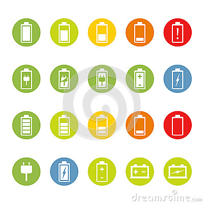 Battery and Accumulator Icons Vector Illustration