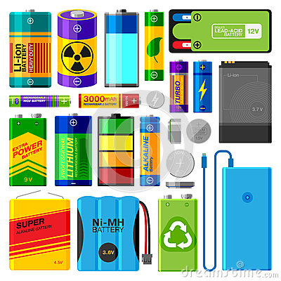 Battery electricity charge technology and accumulator alkaline powered energy elements vector illustration