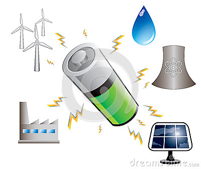 Battery and energy sources, illustration