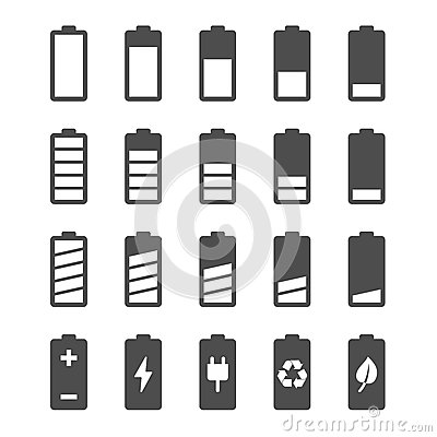 Battery icon set with charge level indicators Vector Illustration