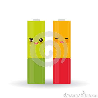 Battery icons set with full and low charge status energy level, isolated on white background. Vector Vector Illustration