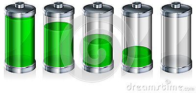 Battery with level indicator