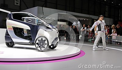 Battery-powered electric i-Road Toyota concept car Editorial Image