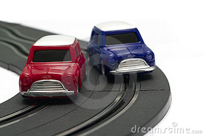 Battery powered slot cars