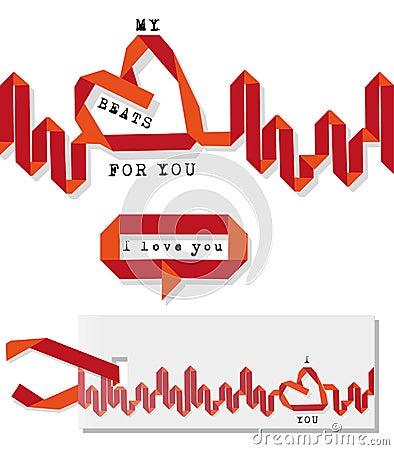 Battito cardiaco del biglietto di S. Valentino