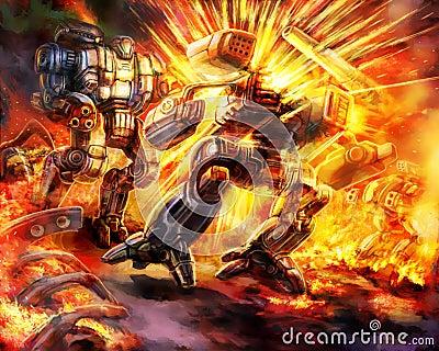 Battle of combat robots Cartoon Illustration