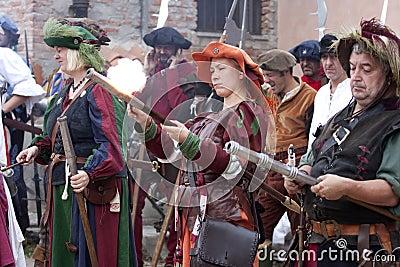 Battle of Pavia: Landsknechts women Editorial Image