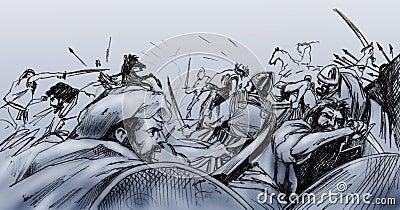 Battle scene in ancient Turkey