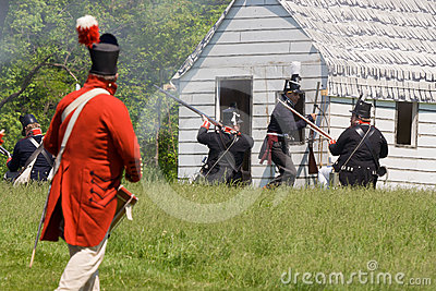 Battle scene during a War of 1812 re-enactment Editorial Image