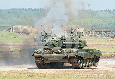 Battle tanks demonstrate combat Editorial Stock Image
