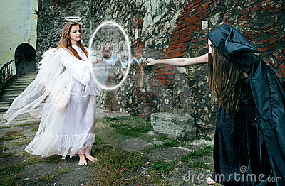 Battle between the witch and an angel