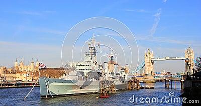 Battleship British Navy in London Editorial Stock Image