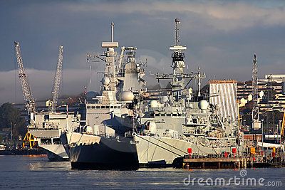Battleship in the dock, Plymouth, U