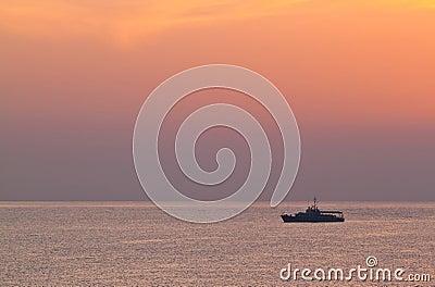 Battleship over the sea