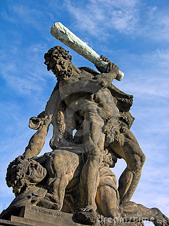 Battling Titan at the gate of Prague Castle